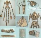 Ornate Antique English Sewing Chatelaine w/ 6 Original Attachments Circa1890s