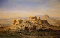 Oil painting ernst carl eugen koerner - the acropolis athena cityscape landscape