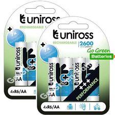 8 x Uniross AA 2600 mAh Rechargeable Batteries NiMH - HR6, LR6, DC1500, MN1500