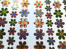 FLOWER STICKERS x 2 sheets; bright, metallic *fun, colourful* 2 sizes on 1 sheet