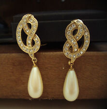 Vintage Crystal & Pearl Drop Gold Plated Large Clip-On Earrings