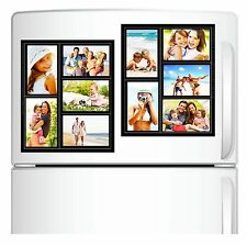 2 Pack Magnetic Picture Collage Frame for Refrigerator Black Holds 5 Photos