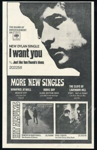 1966 Bob Dylan photo I Want You record release vintage print ad