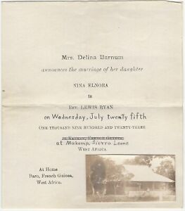 1923 West Africa Sierra Leone Wedding Invitation w/Snapshot Photo of Block House