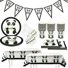 1 Set Happy Birthday Banner Paper Cups and Plates Panda Party Tableware Decor