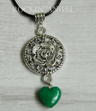 Antique Silver Plt Rose & Jade Heart Pendant Cord Necklace Ladies GIft Reiki