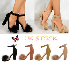 UK Ladies Fluffy Fur Ankle Straps Strappy Open Toe Sandal Block High Heels Shoes