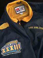 Superbowl XXXIII NFL Football 1999 Logo Jacket Broncos Windbreaker Falcons