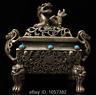 antique the Qing dynasty Pure copper Mosaic gem Lion  Incense burner