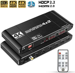 HDMI Matrix Switch 4x2 4K Splitter IR Remote 2.0b, HDCP 2.2, 4K@60Hz, 3D 1080P