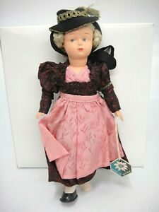 """Vintage Brixental Austria Hard Plastic Jointed Doll Tyrolean 9"""" Braided Buns"""