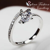 18K White Gold Plated Simulated Diamond Round Cut Adjustable Journey Ring