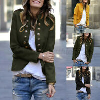 Plus Size Womens Collared Long Sleeve Baggy Jacket Coat Solid Open Front Blazer