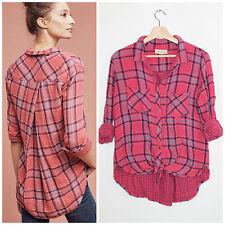 Anthropologie Cloth & Stone Brecken Pink Blue Plaid Double Faced Plaid Shirt L