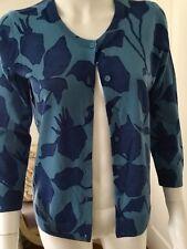 New TALBOTS Blue Pattern 3/4 Sleeve Merino Wool Cardigan Sweater Top Sz Small