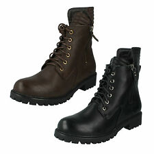 Spot On Lace Up Synthetic Boots for Women