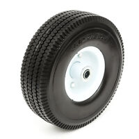 "10"" PU Tyre Metal Wheel 4.10/3.50-4 Solid Puncture Proof 16mm Bore Wheelbarrow"
