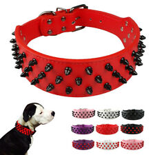 Spikes Studded Dog Collars Leather for Medium Large Breeds Boxer Doberman M L XL