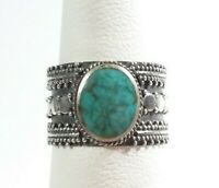 925 STERLING SILVER BALI BRAIDED & BEADED WIDE BAND TURQUOISE SIZE 6 RING