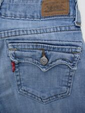 Levis 515 Flare 4P Med. Womens Jeans Blue Denim Flap Pockets Buttons Distressed