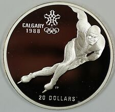 1985 Canada $20 Proof 1988 Calgary Olympic Coin- Speed Skating- w/Box & COA