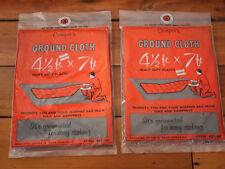 NEW Pair Vintage Campers Ground Cloth Tarps Grey NEON Orange Grommets 54x84