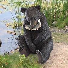 Black Bear Master Angler Fisherman Sculpture Garden Pond Statue Wildlife