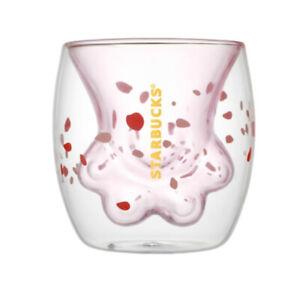 STARBUCKS Sakura Cat Claw Paw Mug Double Walled Glass Milk Coffee Cup Love Gifts