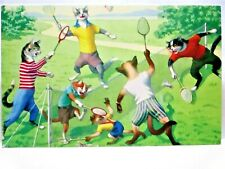 1960s POSTCARD ALFRED MAINZER CATS 4713, CATS PLAYING BADMINTON