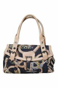 VINTAGE SALVATORE FERRAGAMO Denim and Leather Shoulder Bag (M)