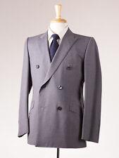 NWT $3995 D'AVENZA Medium Gray Fine-Stripe Wool Suit Slim 40 R Handmade