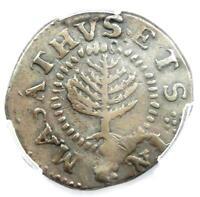 1652 Massachusetts Pine Tree Shilling 1S - PCGS XF Details (EF) - Rare Coin!