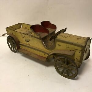 Vintage 1925 Large Open Dayton Pressed Steel Touring Truck Yellow and Red