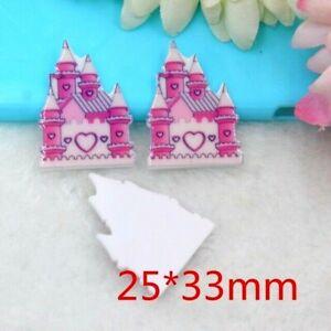 4pc. Planar Resin Hair Bow Center WHOLESALE 25 x 33mm Pink Princess Castle