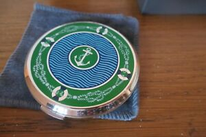 Stratton Cosmetic Compact Original Box Unused Enamelled Blue/Green/White Anchor