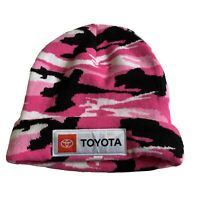 Toyota Pink Camo Knit Beanie Hat Car Logo Unisex Black White Toque