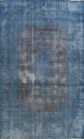 Antique Overdyed Kirman Distressed Hand-knotted Evenly Low Pile Area Rug 10'x13'