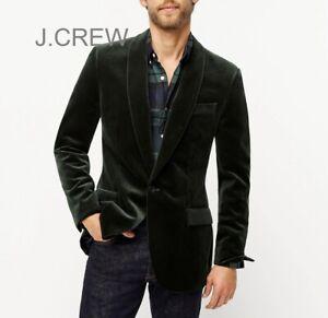 J.CREW Ludlow velvet blazer dark green dinner jacket shawl collar 34S, slim 36S
