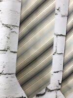 "KENNETH COLE NY Men's Silk Tie Diagonal Silver Stripe 4""x 58"" Ivory NeckTie"
