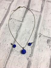 Blue Diamante Stone Pendant Necklace & Earing Set Costume Jewellery Pierced Ears