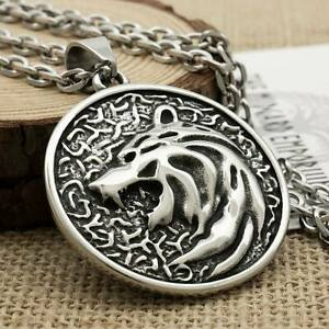 Witcher Bear Medallion Necklace Stainless Steel Jewellery Pendant (4.5mmCable)