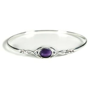 Silver Celtic Wish Bangle with Amethyst