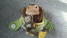 "2011 Skip Hop Monkey Mama and Baby Teether 6"" Plush Hugging Mom Mother Pouch"