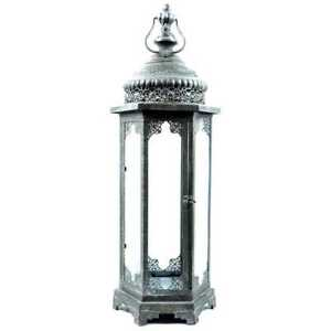 Dark Gray Metal & Glass Lantern. Well-loved functional accent  27.1/2 Inches H