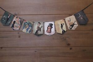 Vintage French Bunting handmade from prints vintage  Champagne adverts 8 flags