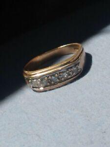 VINTAGE 14K Gold Diamond Men's Band Ring