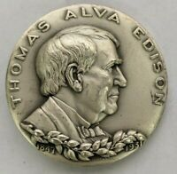 Vtg Medallic Art Co NY Thomas Edison HoF High Relief 999 Silver Medal Round