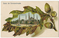 Turkey 1913 Constantinople embossed mosque postcard to Italy e.32