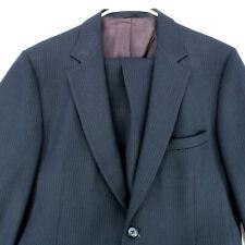 JC PENNEY MEN'S SHOP Vtg 80s Navy Blue Striped Blazer Coat Suit Jacket Men's 42R