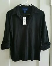Womens CHARTER CLUB black mid sleeve top size S NWT